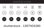 address icons set. collection...