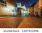 warsaw at starry night. empty... | Shutterstock . vector #1307412346