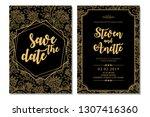 black gold pattern wedding... | Shutterstock .eps vector #1307416360