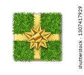 gift box 3d. green grass box... | Shutterstock .eps vector #1307417929