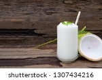 coconut smoothies white fruit... | Shutterstock . vector #1307434216