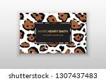 business card trendy leopard... | Shutterstock .eps vector #1307437483