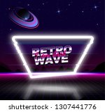 retro wave glowing banner place ... | Shutterstock .eps vector #1307441776