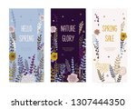 set of spring cards or banners... | Shutterstock .eps vector #1307444350