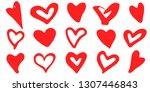 doodle heart shapes set.... | Shutterstock .eps vector #1307446843