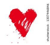grunge red heart shape.... | Shutterstock .eps vector #1307446846