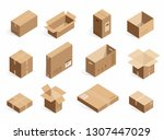 isometric realistic cardboard... | Shutterstock . vector #1307447029