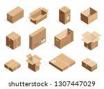 isometric realistic cardboard... | Shutterstock . vector #1307447029