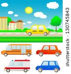 set colorful cars with summer... | Shutterstock . vector #130745843