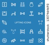 editable 22 lifting icons for... | Shutterstock .eps vector #1307464693