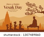 vesak day banner with buddhists ... | Shutterstock .eps vector #1307489860
