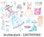 watercolor set of clean  tidy  ... | Shutterstock . vector #1307505583