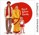Rural Indian Family Vector...