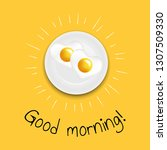 good morning fried eggs with... | Shutterstock .eps vector #1307509330
