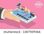 isometric flat concept of video ...