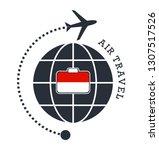 monaco air travel. vector... | Shutterstock .eps vector #1307517526