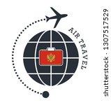 montenegro air travel. vector... | Shutterstock .eps vector #1307517529