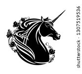magical unicorn horse head with ... | Shutterstock .eps vector #1307519536