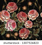 embroidery spring pink roses... | Shutterstock .eps vector #1307526823