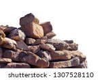 old ancient ruined pile of red...   Shutterstock . vector #1307528110
