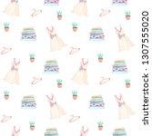 seamless pattern of watercolor ... | Shutterstock . vector #1307555020