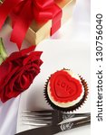 valentine cupcake with red rose ... | Shutterstock . vector #130756040