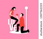 man kneel down giving his heart ...   Shutterstock .eps vector #1307562223