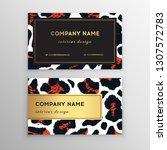 business card trendy leopard... | Shutterstock .eps vector #1307572783