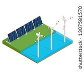 isometric plant solar panels... | Shutterstock . vector #1307581570