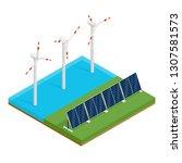 isometric plant solar panels... | Shutterstock . vector #1307581573