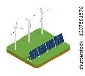 isometric plant solar panels... | Shutterstock . vector #1307581576