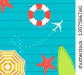 summer time raster banner... | Shutterstock . vector #1307586760
