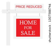 home for sale price reduced... | Shutterstock . vector #1307588746