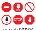stop signs collection in red... | Shutterstock . vector #1307593606