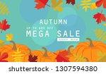 autumn sale background layout... | Shutterstock . vector #1307594380