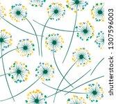 dandelion blowing plant vector... | Shutterstock .eps vector #1307596003