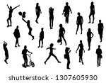 silhouettes of girls and women... | Shutterstock .eps vector #1307605930