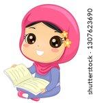 illustration of a muslim kid... | Shutterstock .eps vector #1307623690