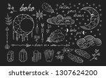 hand drawn boho lace moon dream ... | Shutterstock .eps vector #1307624200