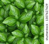 background of green basil... | Shutterstock .eps vector #1307627629