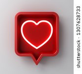 3d social media notification... | Shutterstock . vector #1307628733