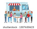 fast food truck cartoon | Shutterstock .eps vector #1307630623