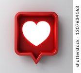 3d social media notification... | Shutterstock . vector #1307634163