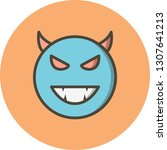vector devil emoji icon  | Shutterstock .eps vector #1307641213