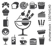 fast food and dessert icon set... | Shutterstock .eps vector #130764140