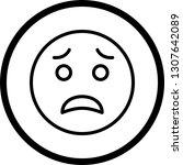 vector scared emoji icon    Shutterstock .eps vector #1307642089