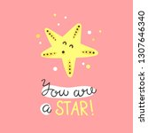 funny starfish vector card with ...   Shutterstock .eps vector #1307646340
