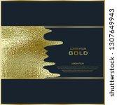 gold paint brush stroke design. ... | Shutterstock .eps vector #1307649943