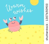 cute vector card with crab on...   Shutterstock .eps vector #1307650903