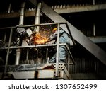 worker is cut metal pipe have... | Shutterstock . vector #1307652499